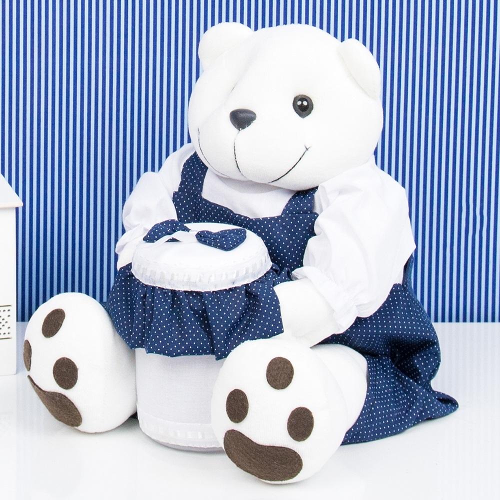 Ursinho Porta Cotonete Teddy Marinho