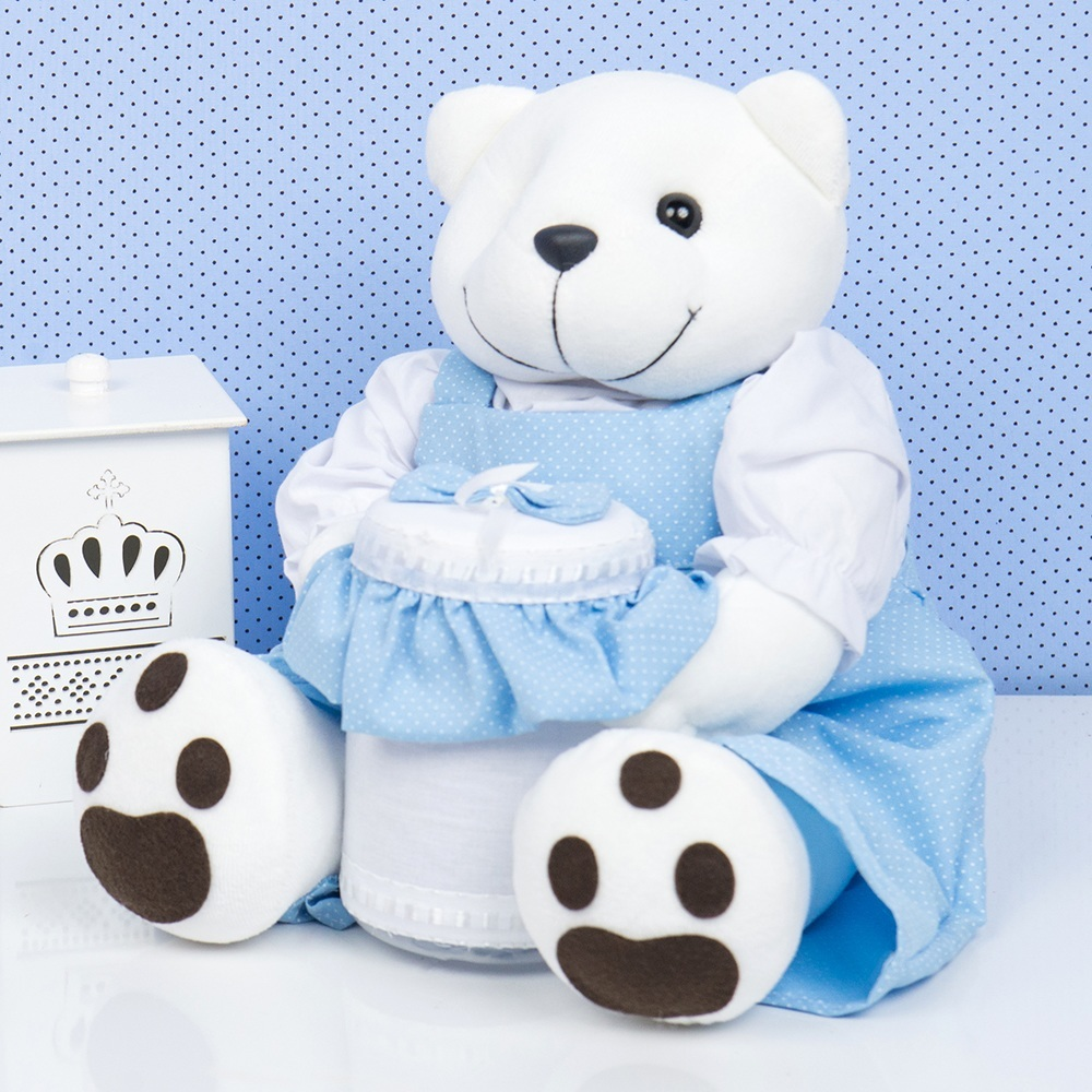 Ursinho Porta Cotonete Teddy Azul