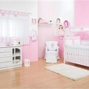 Quarto para Bebê sem Cama Babá Laço Rosa