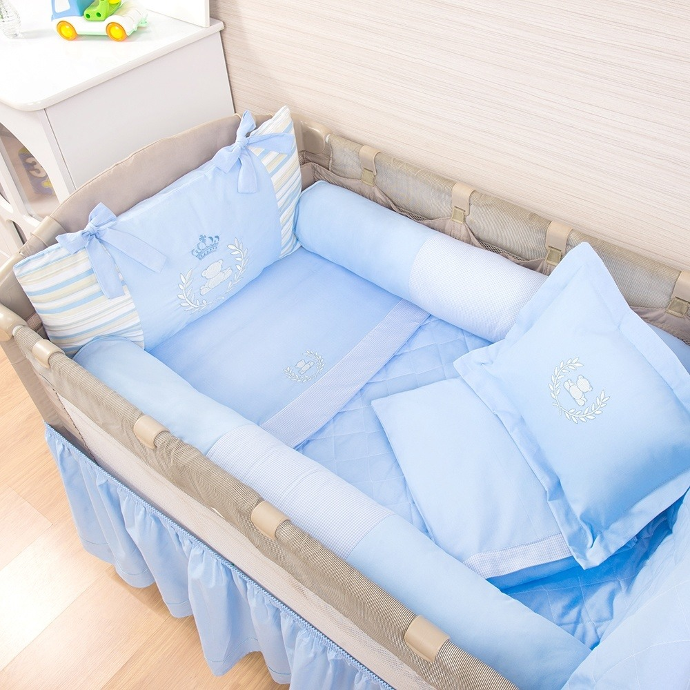 Kit para Berço Desmontável Realeza Azul