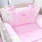 Kit para Berço Desmontável Realeza Rosa