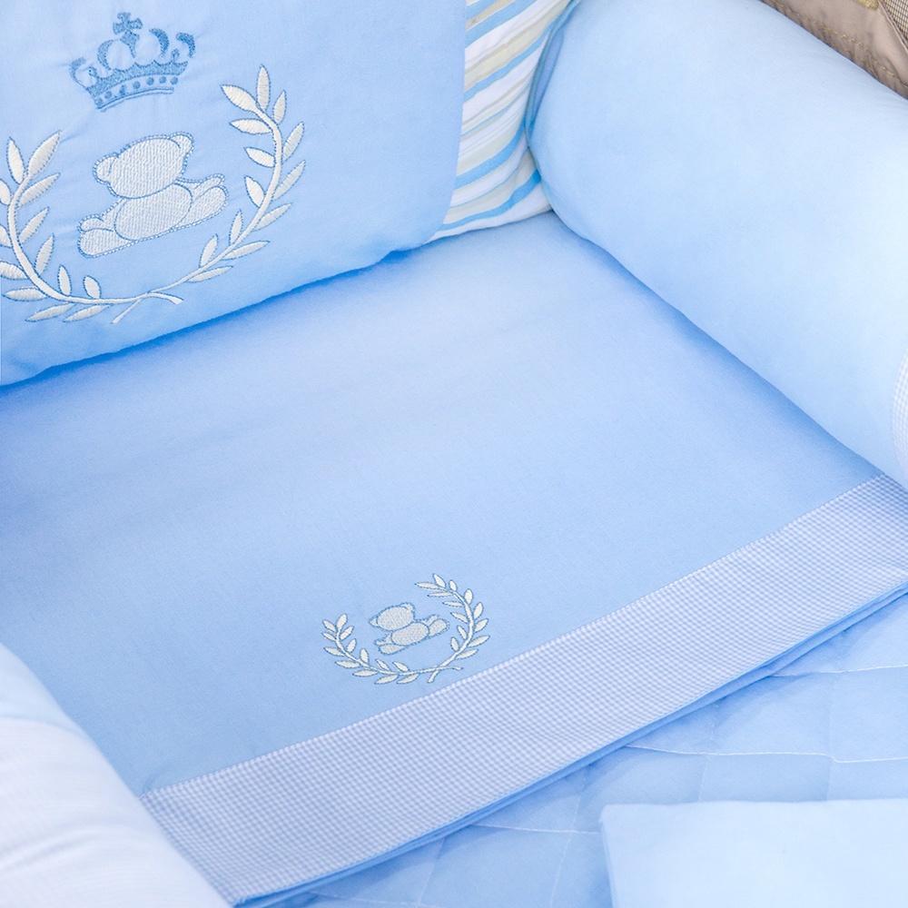 Jogo de Lençol para Berço Desmontável Realeza Azul 1,30m x 80cm