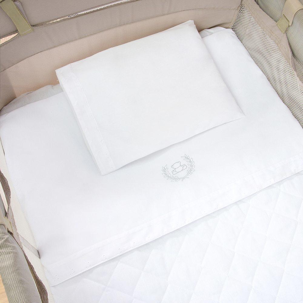 Jogo de Lençol para Berço Desmontável Realeza Branco 1,30m x 80cm