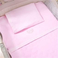 Jogo de Lençol para Berço Desmontável Realeza Rosa 1,16m x 80cm