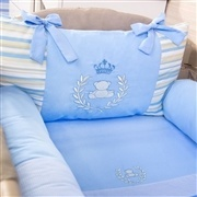 Kit Berço Completo Desmontável Realeza Azul 1,30m x 80cm