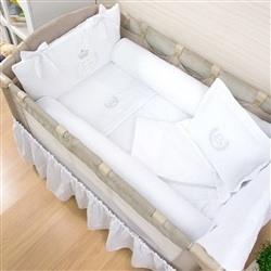 Kit Berço Completo Desmontável Realeza Branco 1,16m x 80cm