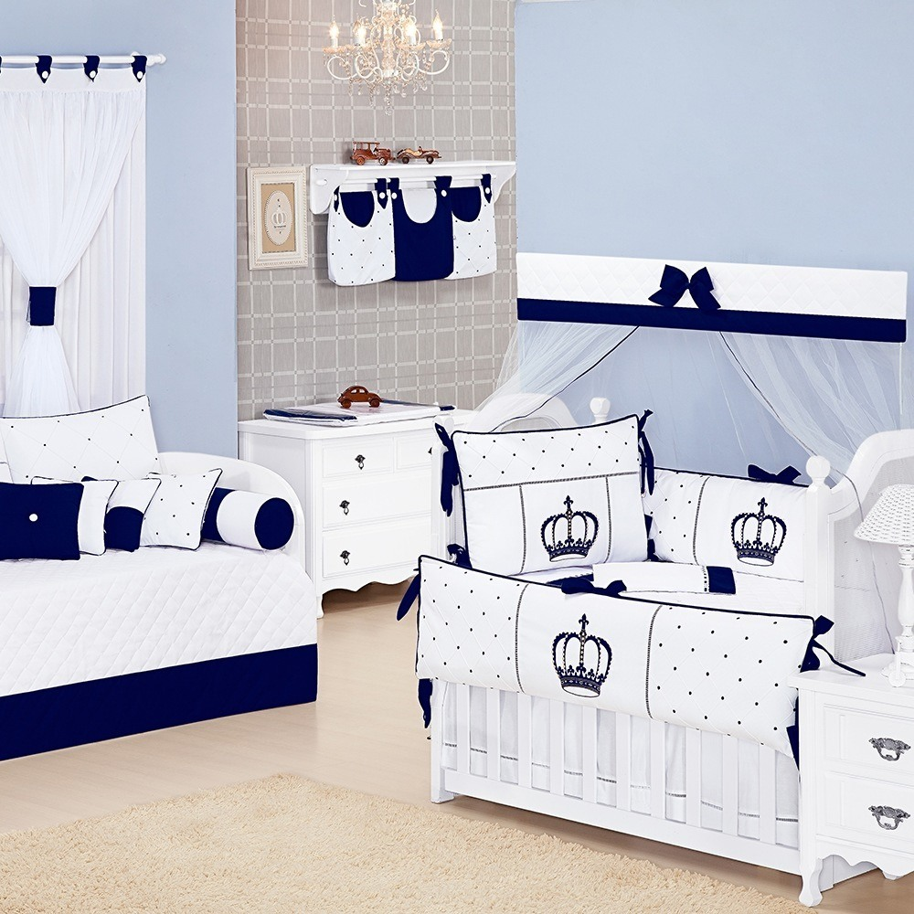 Quarto para Bebê Coroa Marinho e Branco