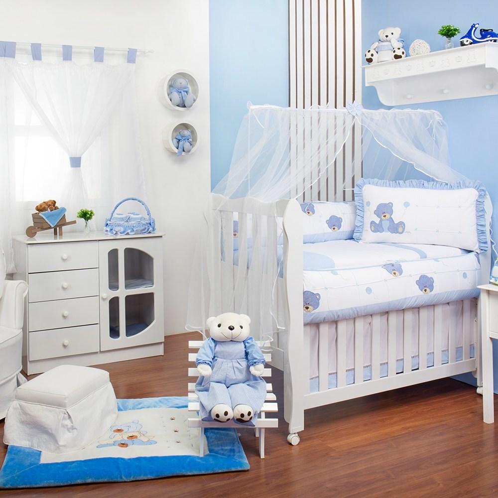 Quarto para Bebê sem Cama Babá Ursinho Dodô Azul