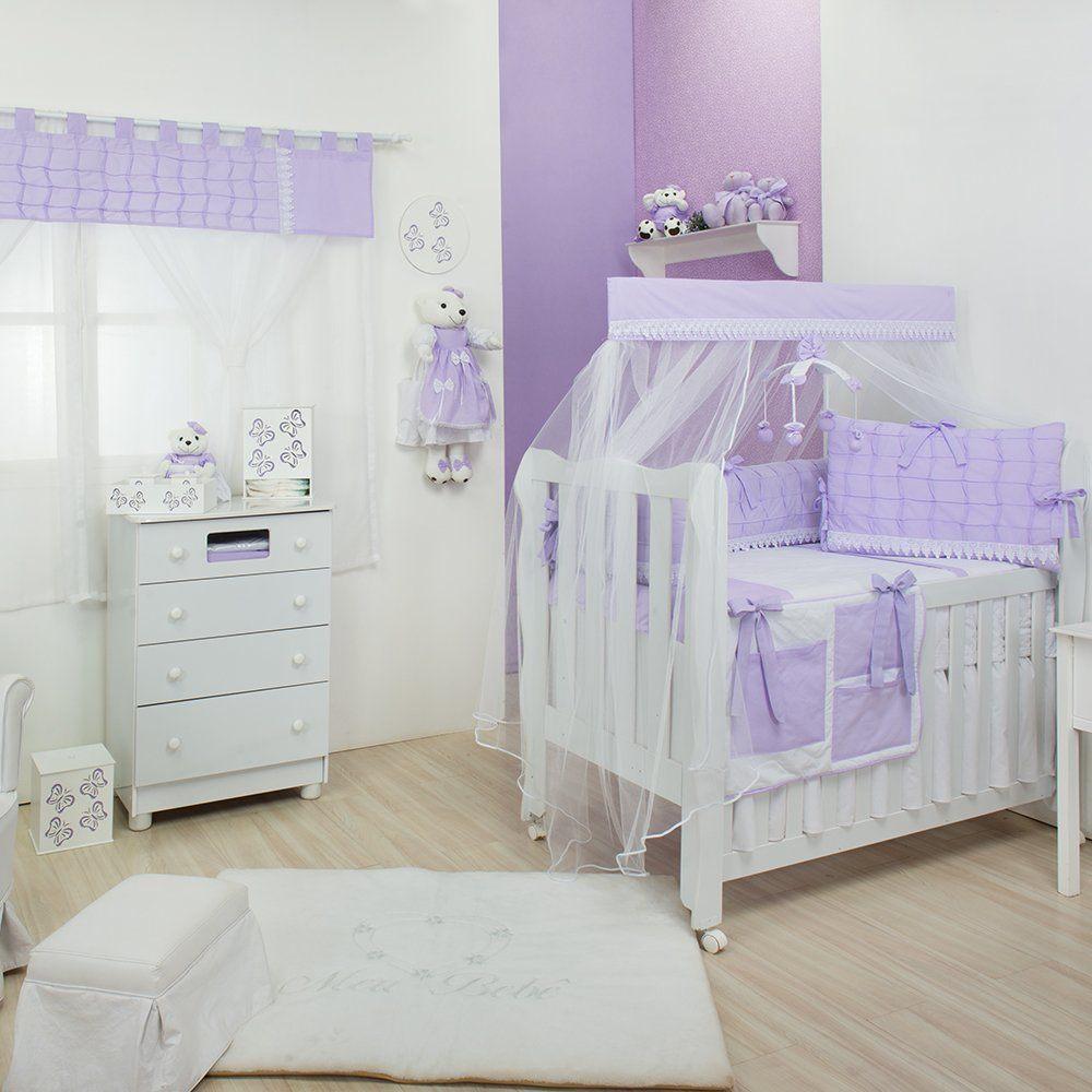 Quarto para Bebê sem Cama Babá Luxo Lilás