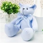 Urso M Chambrê Azul Gravata Xadrez