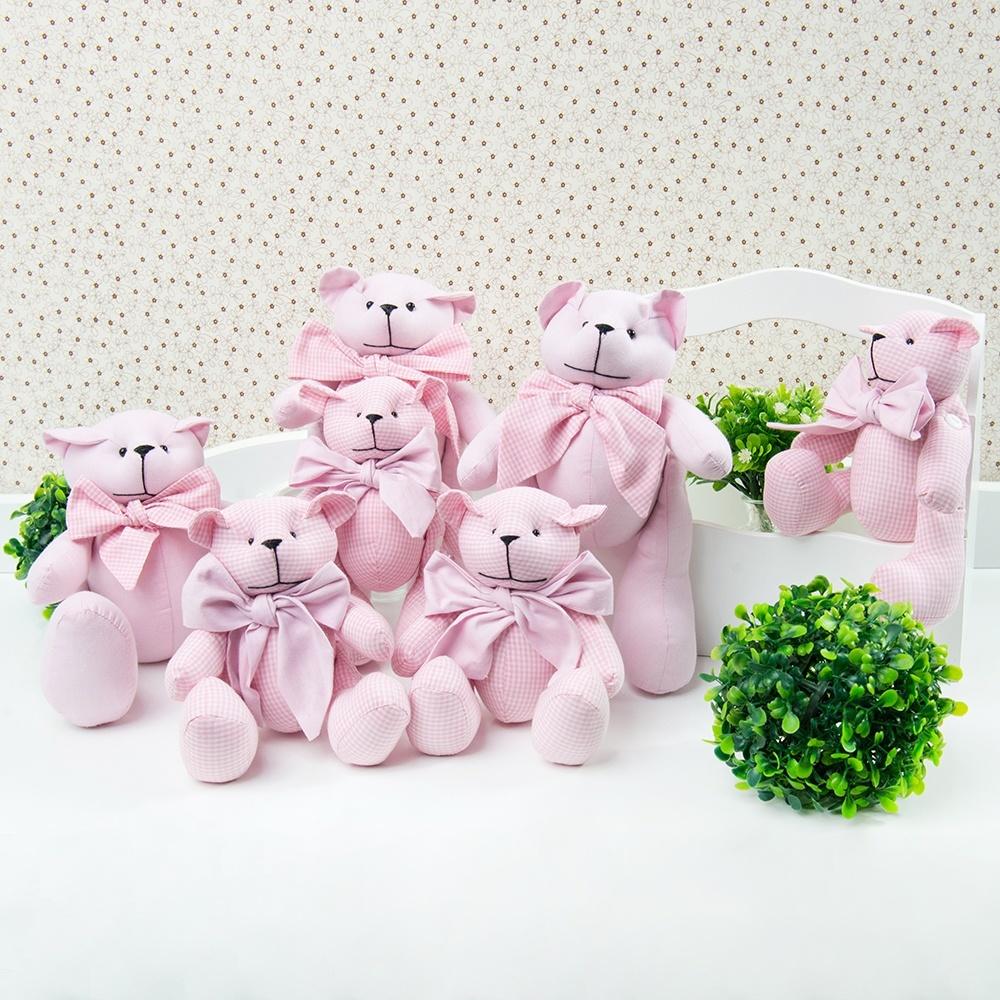 Família Ursas Chambrê Rosa e Xadrez
