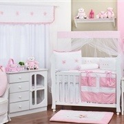 Quarto para Bebê sem Cama Babá Piquet Rosa
