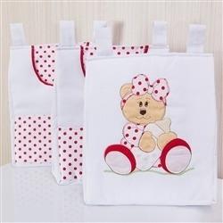 Porta Fraldas Varão Ursa Baby Vermelha