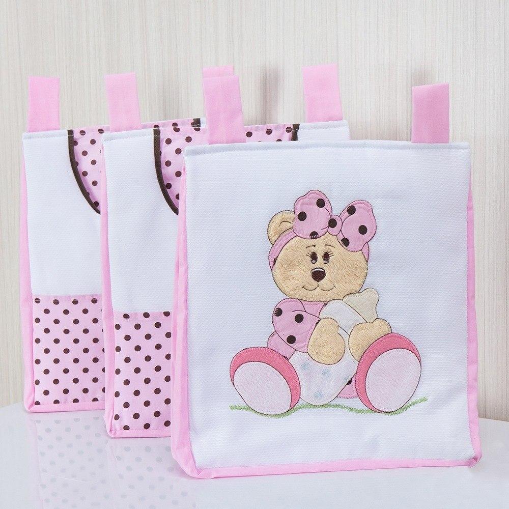 Porta Fraldas Varão Ursa Baby Rosa