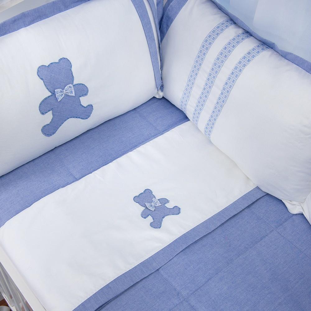 Jogo de Lençol de Berço Sweet Bear Azul