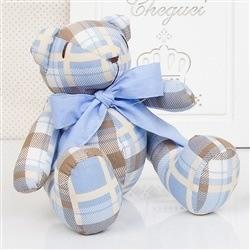 Urso P Xadrez Azul e Marrom