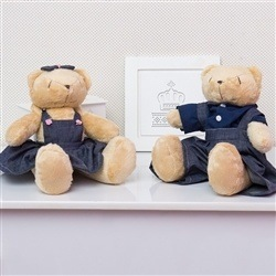 Casal Ursos Jardineiros Bege