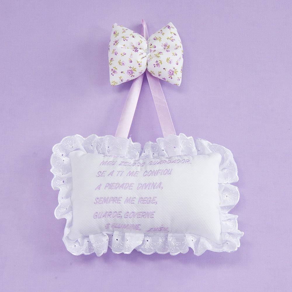 Enfeite Oração Santo Anjo Primavera Baby Lilás