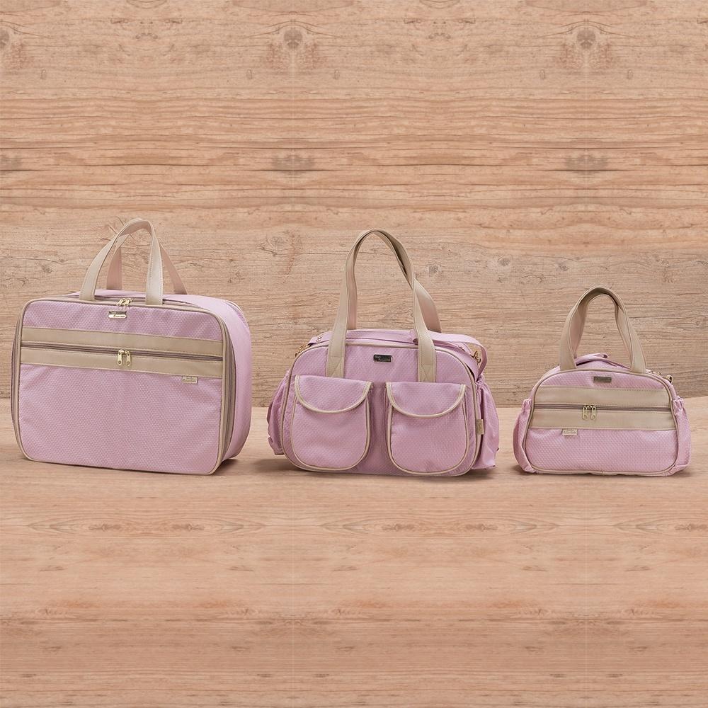 Conjunto de Bolsas Maternidade Requinte Rosa