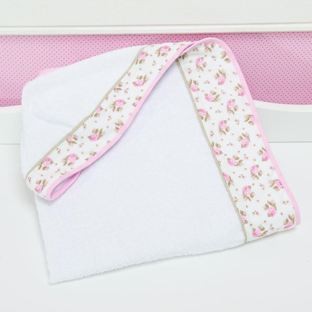 Toalha com Capuz Primavera Baby Rosa