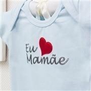 Body Manga Curta Eu Amo a Mamãe Azul Recém-Nascido a 3 Meses