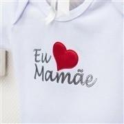 Body Manga Curta Eu Amo a Mamãe Branco 3 a 6 Meses