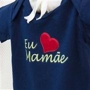 Body Manga Curta Eu Amo a Mamãe Marinho 9 a 12 Meses
