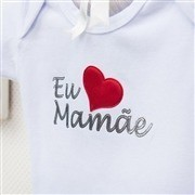 Body Manga Curta Eu Amo a Mamãe Branco 9 a 12 Meses