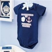 Body Manga Marinheiro de Primeira Viagem Marinho Recém-Nascido a 3 Meses