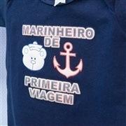 Body Manga Curta Marinheiro de Primeira Viagem Marinho 9 a 12 Meses