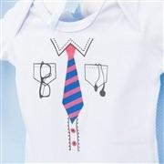 Body Manga Curta Gravatinha Branco Recém-Nascido a 3 Meses