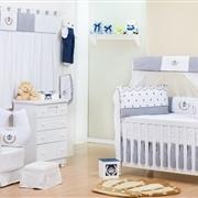 Quarto para Bebê sem Cama Babá Realeza Marinho Listrado