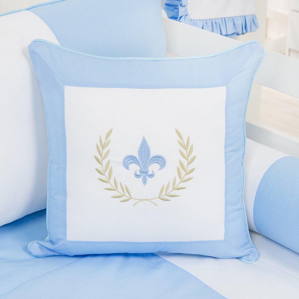 Almofada Bordada Provençal Azul