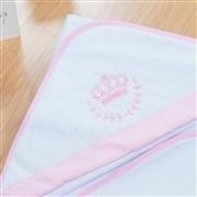 Toalha de Banho Forrada com Capuz Coroa Rosa