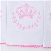 Kit Fraldas e Toalha de Banho Coroa Rosa