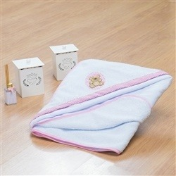 Toalha de Banho Forrada com Capuz Ursinha Poá Rosa