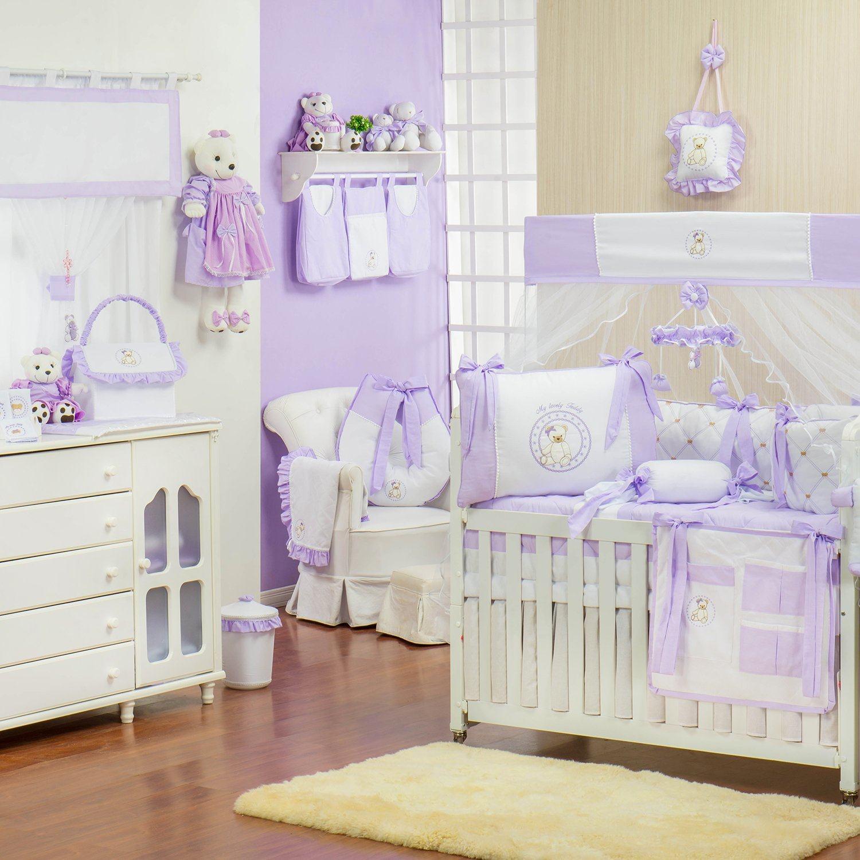 Quarto para Bebê sem Cama Babá Teddy Lilás