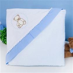 Toalha com Capuz Teddy Azul