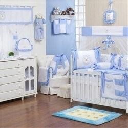 Quarto para Bebê sem Cama Babá Teddy Azul