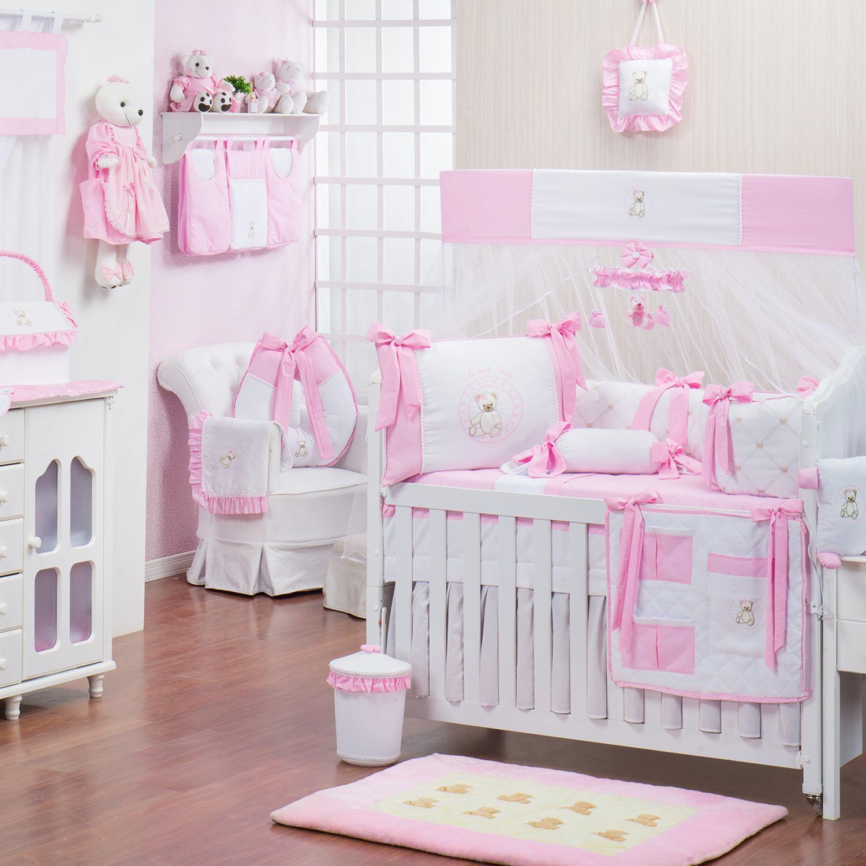Quarto para Bebê sem Cama Babá Teddy Rosa