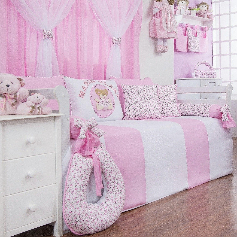 Kit Cama Babá Minha Bebê Nome Personalizado Rosa