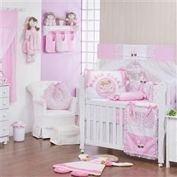Quarto para Bebê sem Cama Babá Minha Bebê Nome Personalizado Rosa