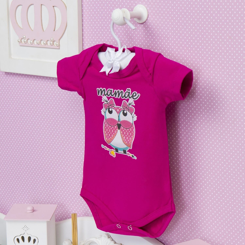 Body Manga Curta Mamãe Coruja Pink Recém-Nascido a 3 Meses