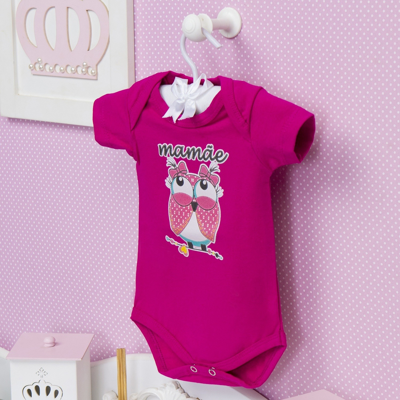 Body Manga Curta Mamãe Coruja Pink 6 a 9 meses