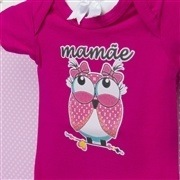 Body Manga Curta Mamãe Coruja Pink 12 a 15 meses