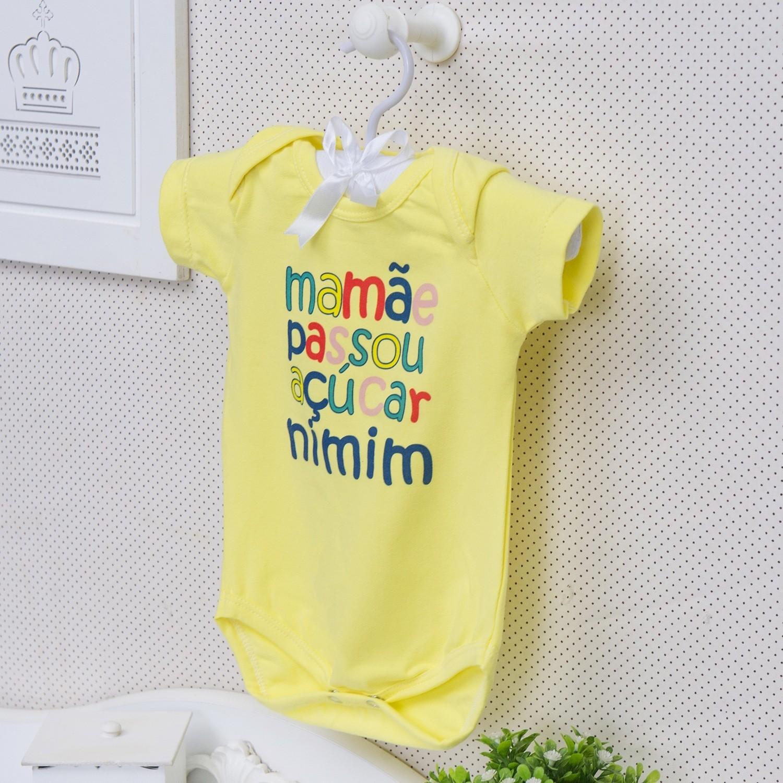 Body Manga Curta Mamãe Passou Açúcar Nimim Amarelo 6 a 9 meses