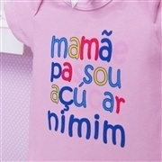 Body Manga Curta Mamãe Passou Açúcar Nimim Rosa 9 a 12 meses