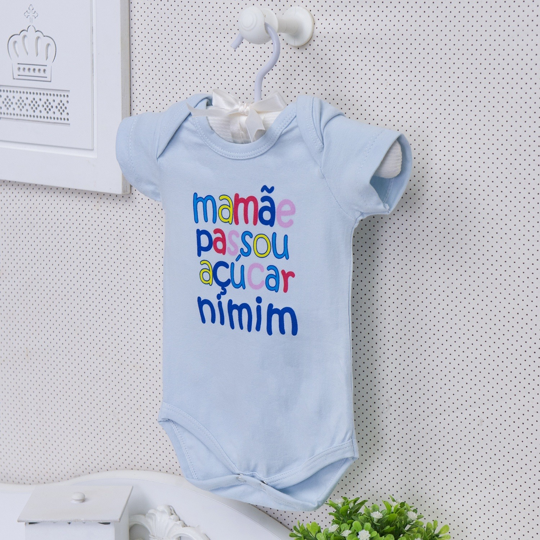 Body Manga Curta Mamãe Passou Açúcar Nimim Azul 9 a 12 meses