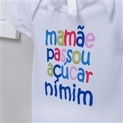 Body Manga Curta Mamãe Passou Açúcar Nimim Branco 12 a 15 meses