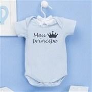 Body Manga Curta Meu Príncipe Azul Recém-Nascido a 3 Meses